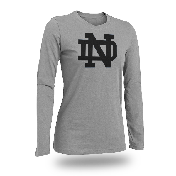 Long Sleeve Gray Notre Dame T-shirt Logo Only