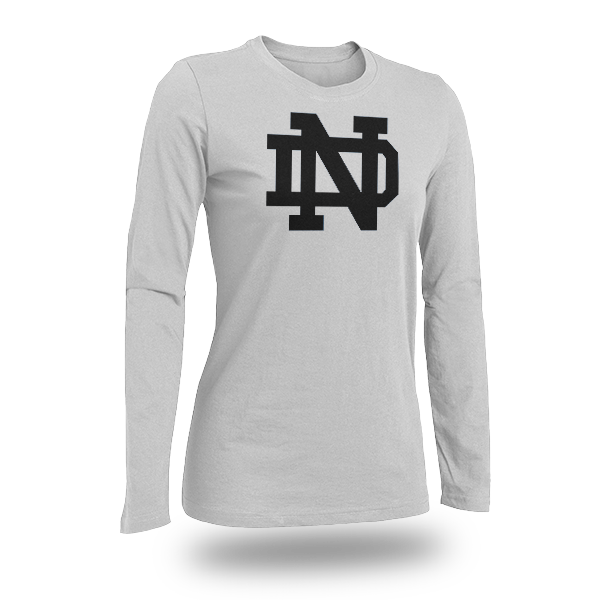 Long Sleeve White Notre Dame T-shirt Logo Only